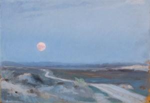 Landscape from Stenbjerg with moon, Peder Severin Krøyer, 1889